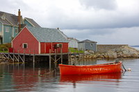 A lobsterman's boat tied up in Peggy's Cove